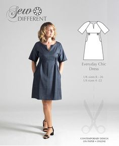 Everyday Chic Dress - MULTISIZE SEWING PATTERN - Sew Different