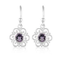 Genuine Amethyst Gemstone Jewelry 925 Pure Sterling Silver Earring #Rinnga