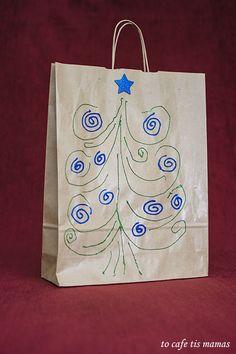 Χριστουγεννιάτικες τσάντες δώρου. - To Cafe tis mamas Paper Shopping Bag, Xmas, Spirit, Home Decor, Christmas, Navidad, Room Decor, Weihnachten, Christmas Music