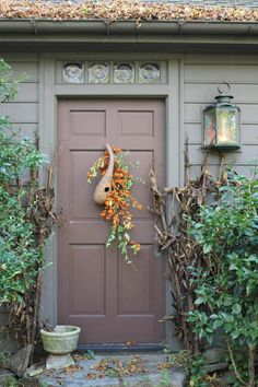 Fall door decoration:  Light-weight gourd & bittersweet