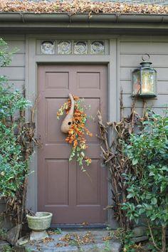 Fall door decoration:  Light-weight gourd & bittersweet