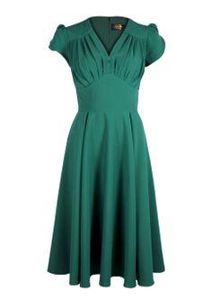 So Foxy Retro Dress - Emerald - Fashion 1930s, 1940s & 1950s style - vintage reproduction
