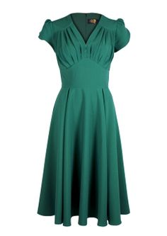 So Foxy Retro Dress - Emerald - Fashion 1930s, 1940s & 1950s style - vintage reproduction