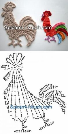 Crochet Doily Patterns 83343 I just saw these little flat animals very easy to make and which can decorate your creations: sweaters, blanket, baby nest…. draw and crochet! Art Au Crochet, Crochet Birds, Crochet Doily Patterns, Easter Crochet, Crochet Diagram, Thread Crochet, Irish Crochet, Crochet Motif, Crochet Designs