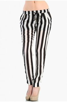 LoveMelrose.com From Harry & Molly | Stripped Flowy Pants - Black / White