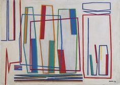 1952, Composizione, tempera su legno, cm 19  x 27
