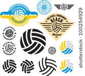 Volleyball sign icon set. Vector volleyball icons, labels collection.