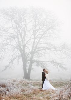 Misty Winter Wedding Portraits | Chloe Photography | http://heyweddinglady.com/ethereal-gray-winter-wedding-ideas/