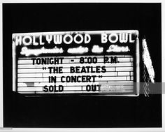 Marquee of the Hollywood Bowl when the rock and roll band 'The Beatles' performed there on August 23, 1964 in Los Angeles, California.