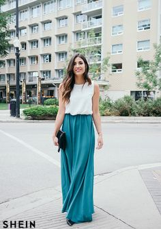 $18 - Color Block Floaty Chiffon Teal Maxi Dress With Belt -SheIn(Sheinside)