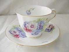 HM Sutherland Bone China Bachelor Button Floral Cup & Saucer Set England