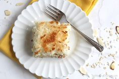 Easy Tropical Angel Food Cake with Pineapple and Toasted Coconut Recipe www.TwoHealthyKitchens.com