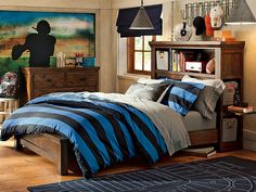 Love the football player mural. Rugby Bedding & Oxford Rugby Bedroom | PBteen