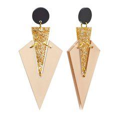 Toolally Designer earrings - Art deco drop nude & Glitter
