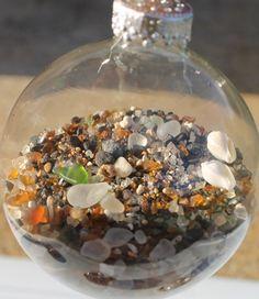 Beach Glass and Shell Ornament Qty3 by Kekauilani on Etsy, $20.00
