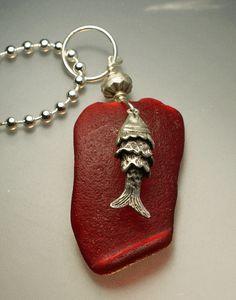Red Sea Glass Pendant, $260.00