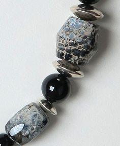 Collier Agate, Onyx et Argent