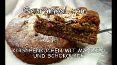 Kirschenkuchen mit Mandeln und Schokolade - saftiger Kuchen mit süßen Ki... Banana Bread, Make It Yourself, Desserts, Recipes, Food, Cake Batter, Almonds, Schokolade, Tailgate Desserts