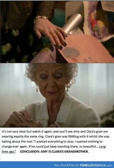 See, now, I was thinking this, or, in some twisted way... Clara was her own grandmother? Can that happen? It's Who, of course it could! ... Although the Amy theory is a bit more plausible. A bit.
