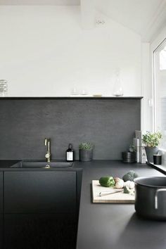 Cuisine noire comptoir