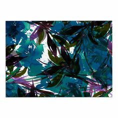 KESS InHouse Ebi Emporium 'Floral Fiesta Teal' Watercolor Pattern Dog Place Mat, 13' x 18' >>> Can't believe it's available, see it now : Dog food container