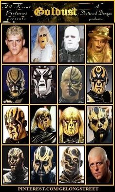 The many faces of Goldust. And yes, I know that technically Seven doesn´t belong here . Wrestling Rules, Wrestling Stars, Wrestling Wwe, Undertaker, Wwe Quiz, Wwe Facts, Wwe Goldust, Ranger, Wwe Tna