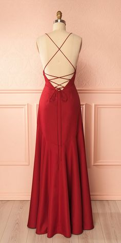 V-Neck A-line Long Prom Dress, Formal Dress Featuring Frills And Crisscross Back on Luulla