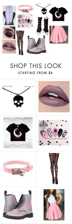 """Pastel Goth"" by ashgordan ❤ liked on Polyvore featuring CENA, Poizen Industries and Dr. Martens"