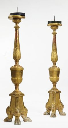 A PAIR OF ITALIAN PARCEL-GILT TORCHÈRES  THIRD QUARTER 18TH CENTURY