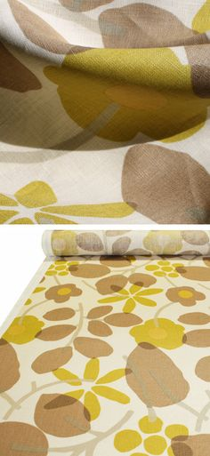 """""""Nathalie, Mink""""  54"""" wide100% Linen   From the """"Hip Chics"""" collection by Braemore this fantastic modern floral is a fresh blend of citrine yellow-green with taupe brown, light silvery grey-beige on an oatmeal cream background.  Pattern is multi directional and has a vertical repeat of 25"""" and a horizontal repeat of 13"""".  Made of 100% Linen, upholstery weight fabric, weighs 11.5 oz or 330 grams per linear yard and has a soil and stain resistant finish."""