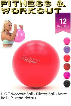 H.G.T Workout Ball - Pilates Ball - Barre Ball - Punching Ball - Mini Exercise Ball - Gym Ball - 12 Inch Exercise Ball - Home Gym Bundle with Ball Exercise - Yoga Exercise Ball Flex Ball - Barre, Yoga Fitness, Pilates, Workout, Mini, Pop Pilates, Work Outs, Pilates Workout
