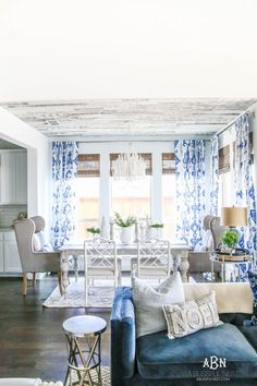 a Blue-tifully designed dining/living combo!