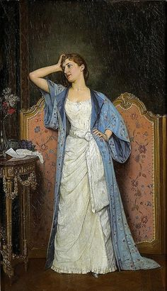 Young Woman with a Screen (Jeune Femme au Paravent), by Auguste Toulmouche (French, Victorian Paintings, Victorian Art, Victorian Portraits, Victorian Fashion, Tea Gown, Art Vintage, Vintage Ladies, Auguste, Old Paintings