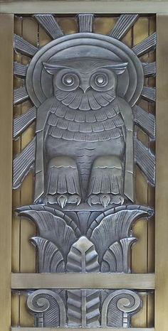 Owl above door to center reading room on fifth floor. Library of Congress John Adams Building, Washington, D.C.