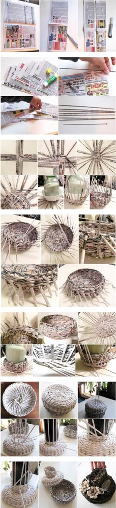 Another recycled newspaper weaving tutorial. Newspaper Basket, Newspaper Crafts, Hobbies And Crafts, Fun Crafts, Diy And Crafts, Diy Projects To Try, Craft Projects, Magazine Crafts, Paper Weaving