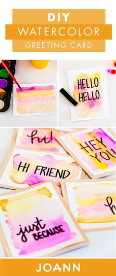 Birthday cards, thank you notes, you name it, these DIY Watercolor Greeting Card… - Geburtstagskarte Diy Karten Diy, Watercolor Cards, Watercolor Birthday Cards, Homemade Cards, Homemade Greeting Cards, Making Greeting Cards, Cute Crafts, Diy Gifts, Hand Lettering