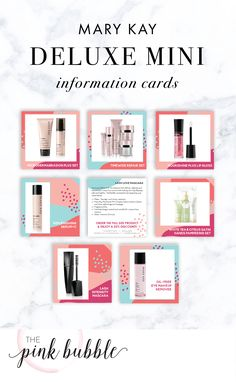 Mary Kay Deluxe Mini Information Cards! Find them only at ! Mary Kay Party, Eye Makeup Remover, Mary Kay Cosmetics, May Kay, Selling Mary Kay, Pink Bubbles, Beauty Consultant, My Love, Skin Care