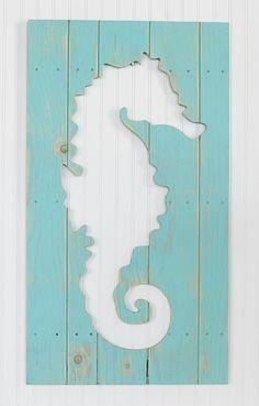 Aqua Seahorse Wood Plaque