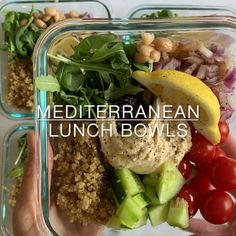 Mediterranean Lunch Bowls (vegan, gluten-free) A flavorful and veggie packed lunch in the amount of time it takes to cook quinoa!A flavorful and veggie packed lunch in the amount of time it takes to cook quinoa! Healthy Meal Prep, Healthy Snacks, Healthy Eating, Healthy Recipes, Dinner Healthy, Easy Work Lunch Ideas, Healthy Low Fat Meals, Health Lunch Ideas, Healthy Work Lunches