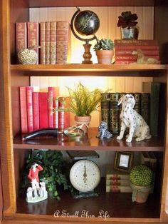 A Stroll Thru Life: Styling Bookcases Bookshelf Styling, Built In Bookcase, Barrister Bookcase, Library Bookshelves, Bookshelf Design, Decorating Bookshelves, Painted Drawers, Home Remodeling, Bathroom Remodeling