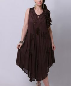 This Brown Embroidered Peasant Dress by La Moda Clothing is perfect! #zulilyfinds
