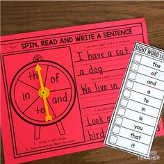 Differentiated Sight Word Activities Sight word activity – spin, read and write the word in a sentence. Differentiated Sight Word Activities Sight word activity – spin, read and write the word in a sentence. Writing Center Kindergarten, Kindergarten Special Education, Kindergarten Lessons, Kindergarten Reading, Literacy Centers, Teaching Sight Words, Sight Words List, First Grade Sight Words, Sight Word Activities