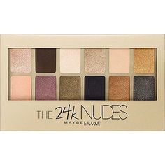 Fashioned for flash! This Maybelline 12 shade 24K Nudes Eyeshadow Palette features dazzling colors infused with metallic gold pigments. From sparkling gold and shimmering nude to gilded smoke and aubergine spark, this makeup palette is perfect for creating versatile eye looks.