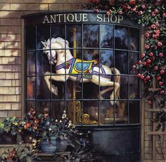 Paul Landry - The Antique Shop - OPEN EDITION CANVAS from the Greenwich Workshop Fine Art Gallery featuring fine art prints, canvases, books, porcelains and gift ideas. Source Of Inspiration, Painting Inspiration, Decoupage, Workshop, Carousel Horses, White Horses, Antique Shops, Various Artists, Art Forms