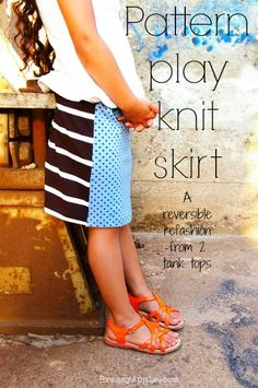 Girls reversible pattern knit skirt - BrassyApple.com