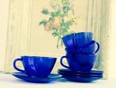 Vintage Cobalt Blue Tea Cup and Saucers Rivage Pattern by Duralex Vereco France Set of 4 by LittleShopofWhatNots on Etsy