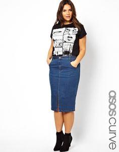 ASOS CURVE Denim Skirt With Split Front