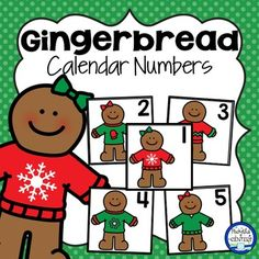 Gingerbread Calendar Numbers: These calendar numbers are great for a gingerbread or Christmas theme! They fit in a pocket chart calendar. There is a complete set (1-31) of each picture which include red snowflake sweater, green mitten sweater, red/green zigzag sweater, green snowflake sweater and plain green sweater.