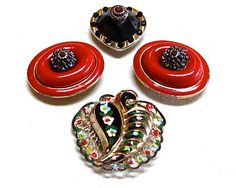 Red Black Colored Funky Oval Flower Shaped Bling Up cycled OOAK Fridge Magnets for Home Decor by PAVACreations on Etsy