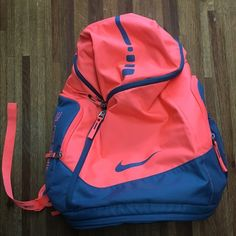 Nike Elite Max Air Coral Backpack Coral and blue Nike Elite backpack. Has only been used a few times. In perfect condition! So much room and has a TON of pockets. Nike Volleyball, Nike Basketball Socks, Volleyball Equipment, Soccer, Nike Elite Socks, Nike Socks, Nike Air Jordans, Nike Air Max, Sport Clothing